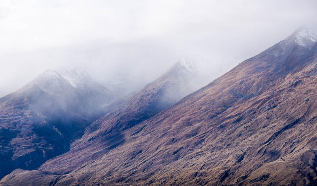 Fog shrouded mountains in New Zealand