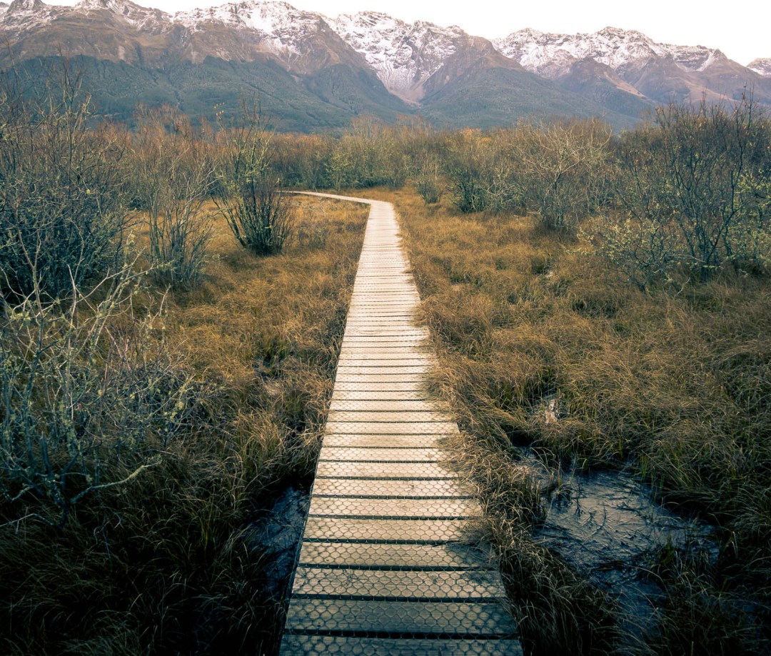 The boardwalk into the lagoon Glenorchy