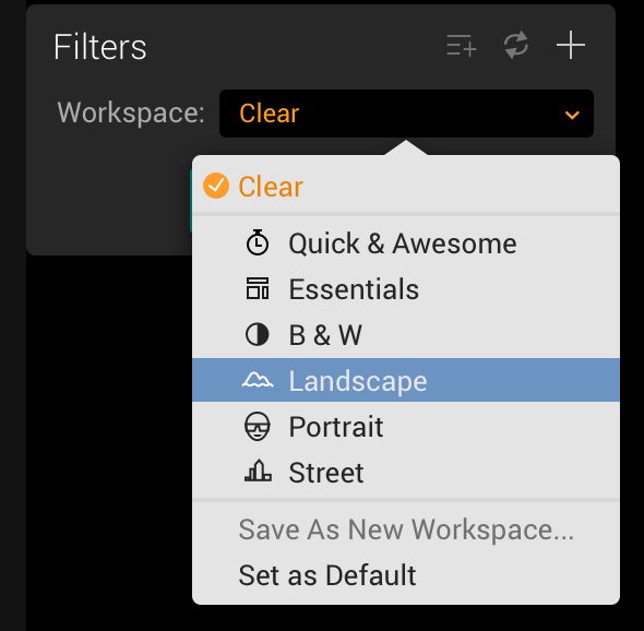Workspace Options in Luminar