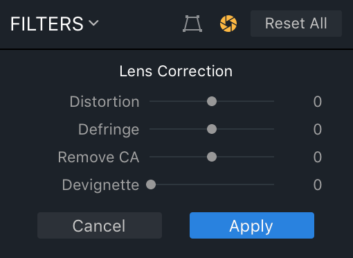 Lens Correction Panel in Aurora HDR 2018