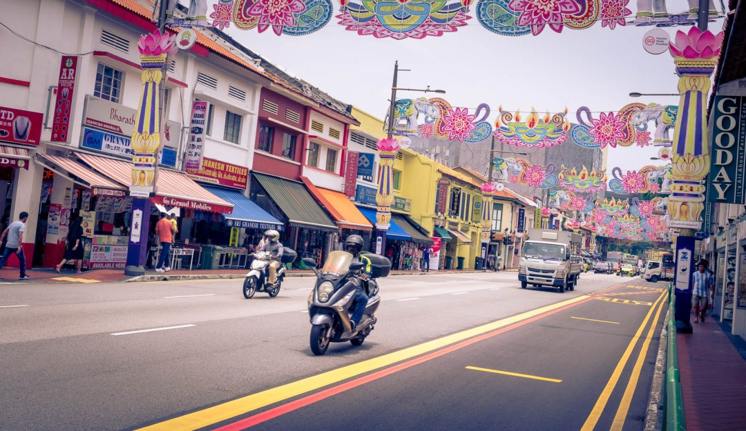 Colourful buildings in Little India Singapore