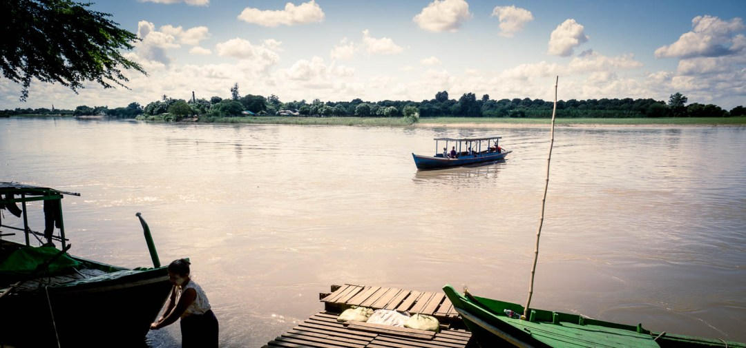 Ferry crossing the river from Innwa Ancient City