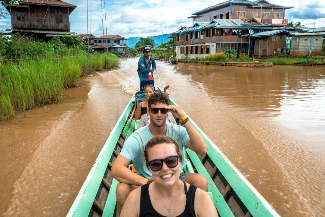 Group photo on a boat through waterways of Inle Lake