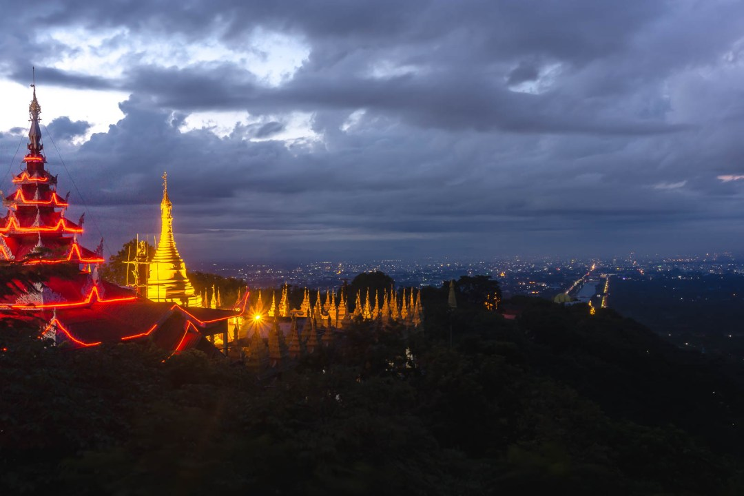 Sunrise on Mandalay Hill overlooking the city