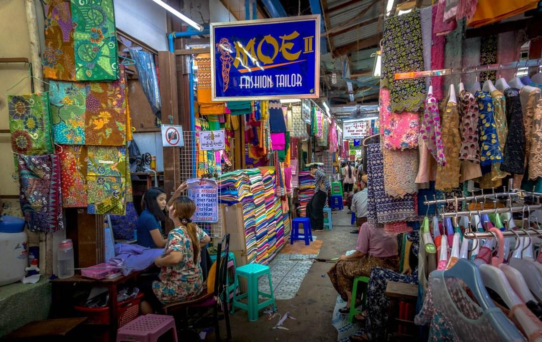 Tailor and fabric in Bog Yoke Market Yangon