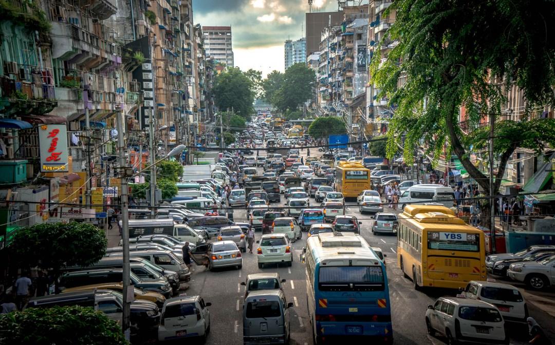 Traffic jam on Yangon Streets in Myanmar