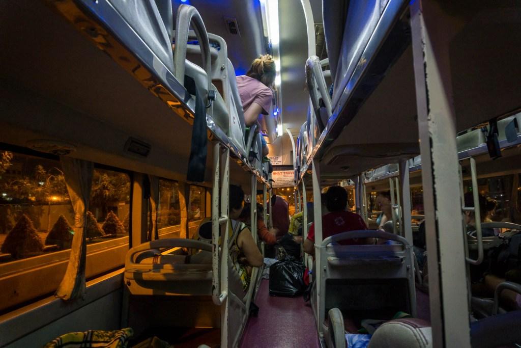 Inside of sleeper bus
