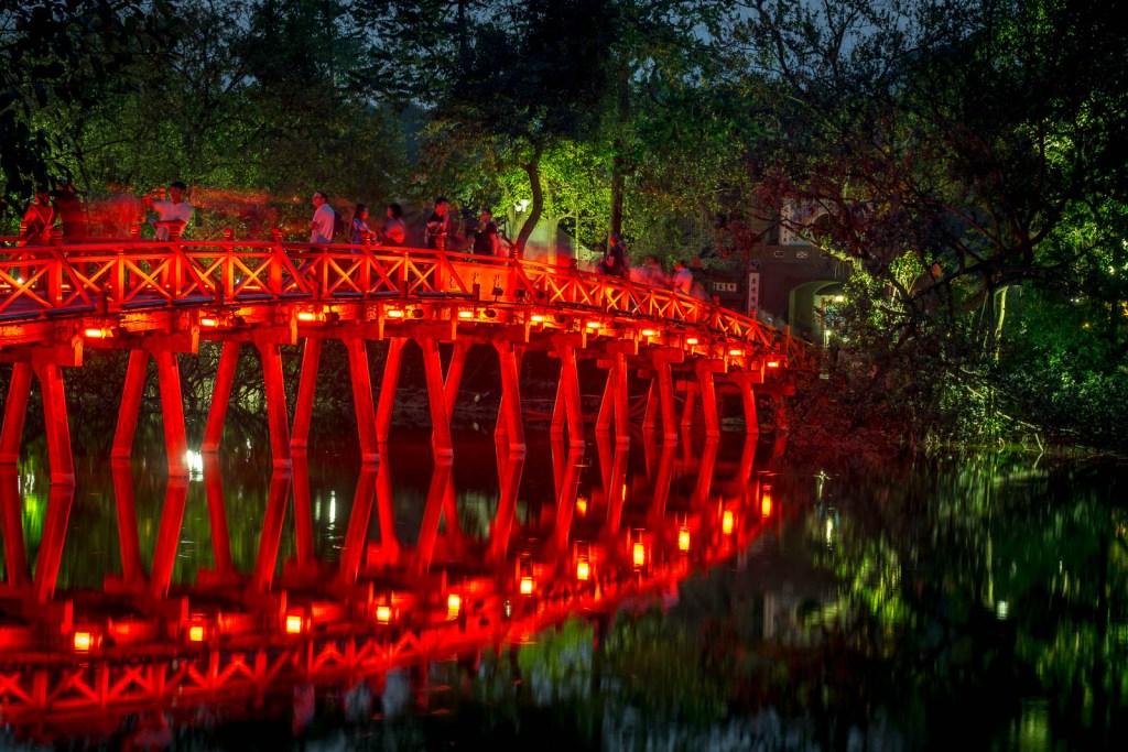 Red bridge at Hoan Kiem Lake after dark