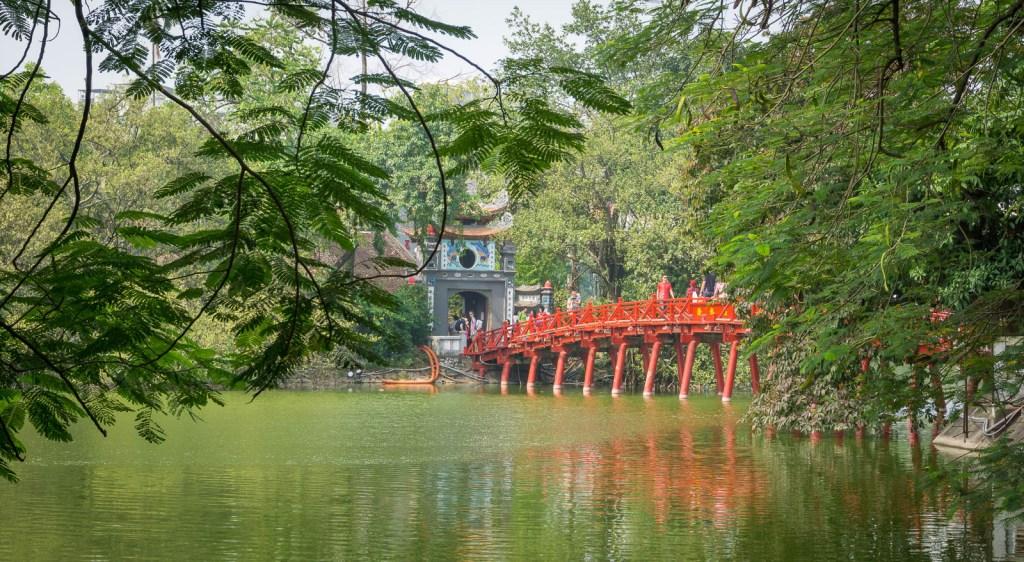 Red bridge to Ngoc Son Temple