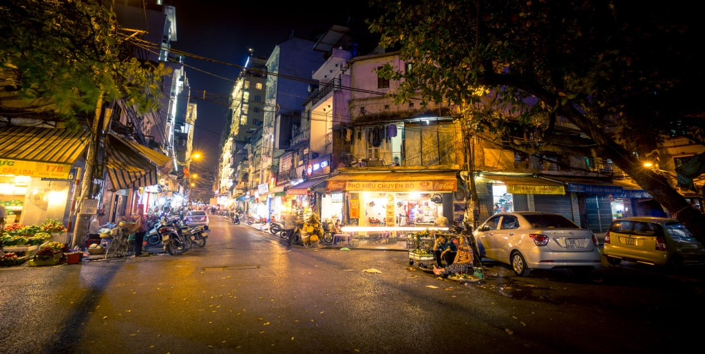 Streets of Old Quarter Hanoi at night
