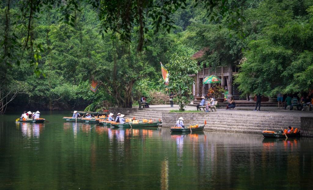 Temple on river in Ninh Binh