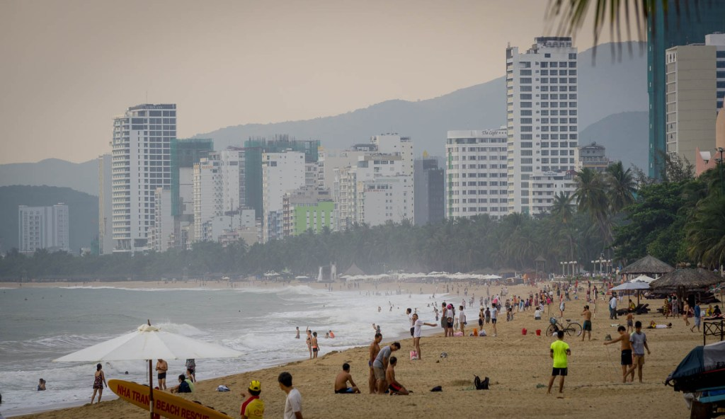 The beach and buildings of Nah Trang