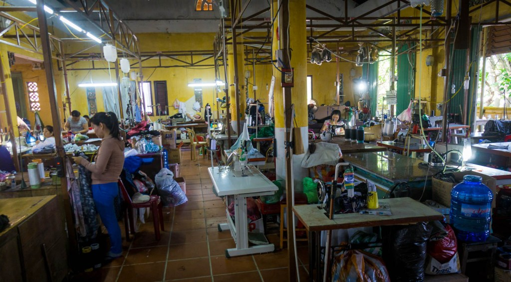 Women sewing clothes in Hoi An