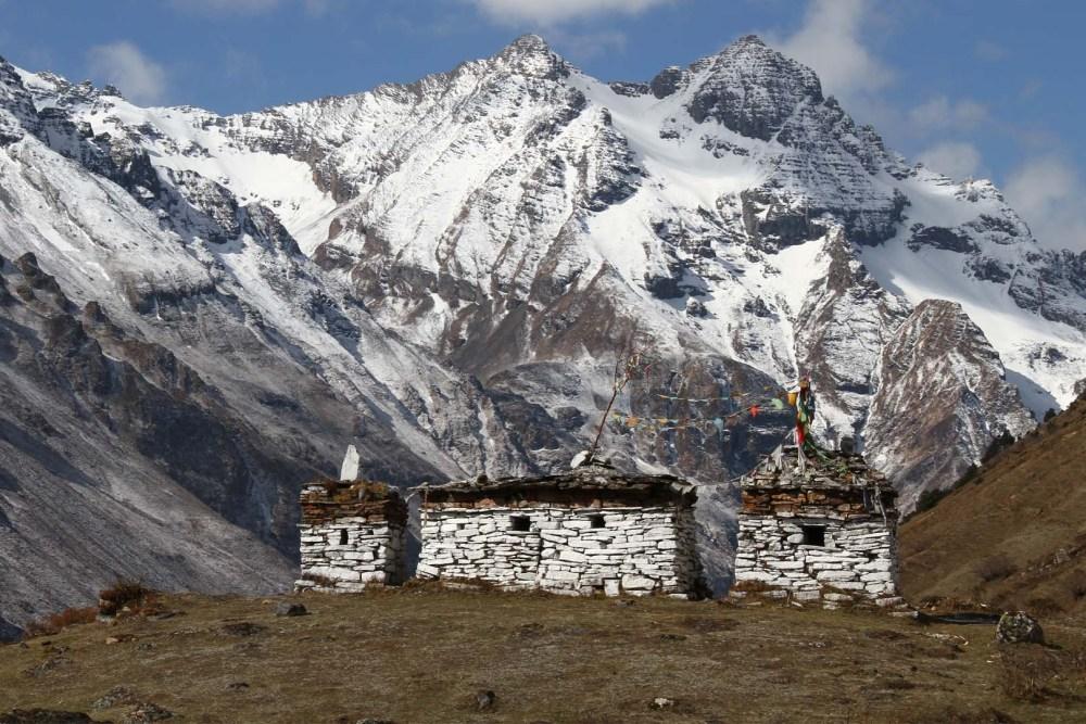 Bhutanese Stupa and High Himalayas
