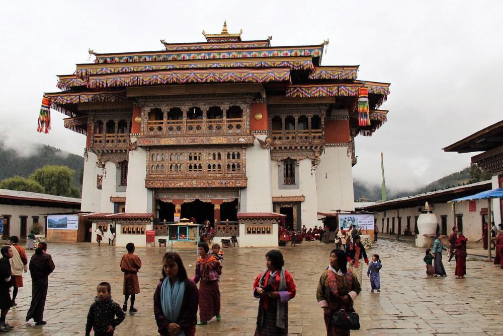 People Visiting Gangteng Monastery