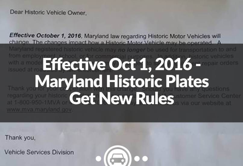 Maryland Historic Plates Get New Rules