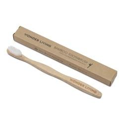Bambus tandbørste - medium - naturlig hvid