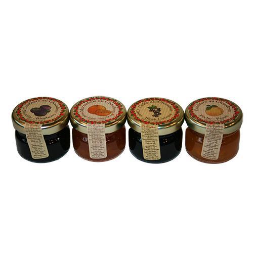 Mini syltetøj 4 stk. -Appelsin/kanel, Blåbær, Fersken & Solbær
