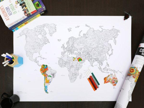 Verdenskort Udfyld-selv-plakat med Penne