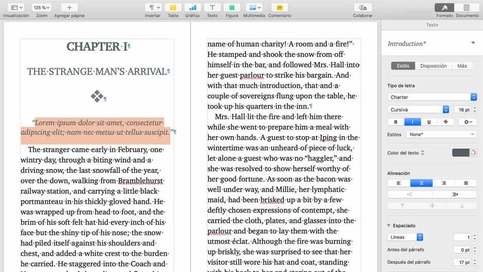 Captura del primer capítulo del libro con estilos aplicados