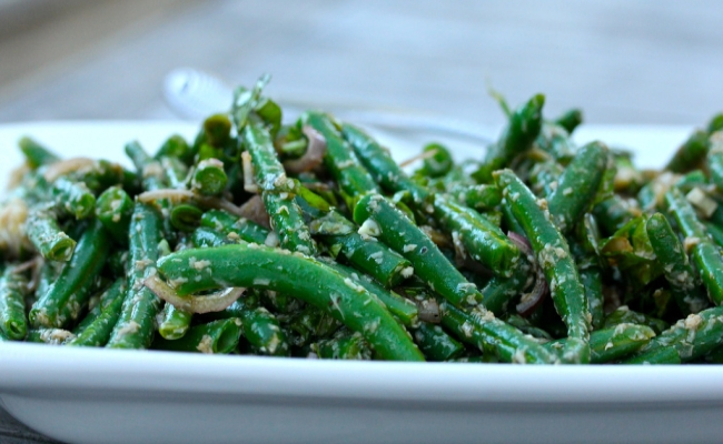 Green Bean With Basil Leaves, Parmesan And Balsamic