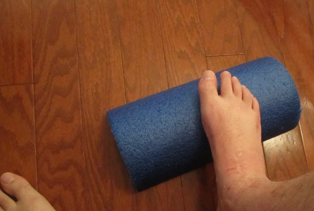 Foot Rolling With Foam Roller