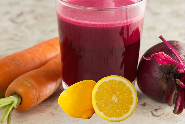 Lemon Juice, Beetroot, And Carrot Juice