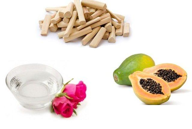 Papaya With Rosewater And Sandalwood Powder