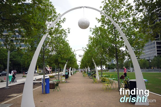 Funky archways around the perimeter of the park