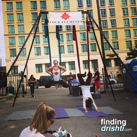 Aerial yoga demonstrations