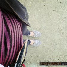 Dressed in my Athleta Revelation Tights and Toms