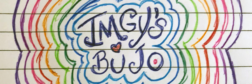 "Image of colorful hand drawn art with the words ""Imgy's BuJo"""