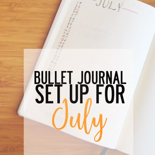 Bullet Journal set up for July