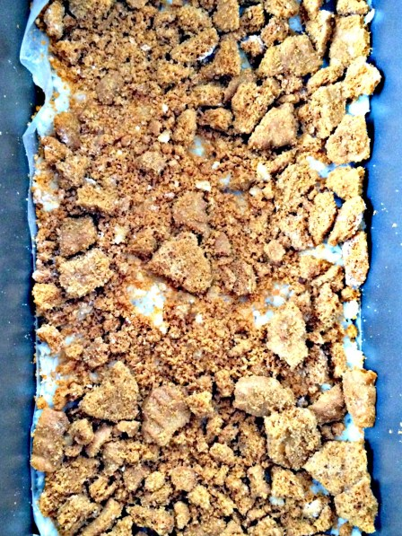 Press crumbled Biscoff cookies into coconut butter bars