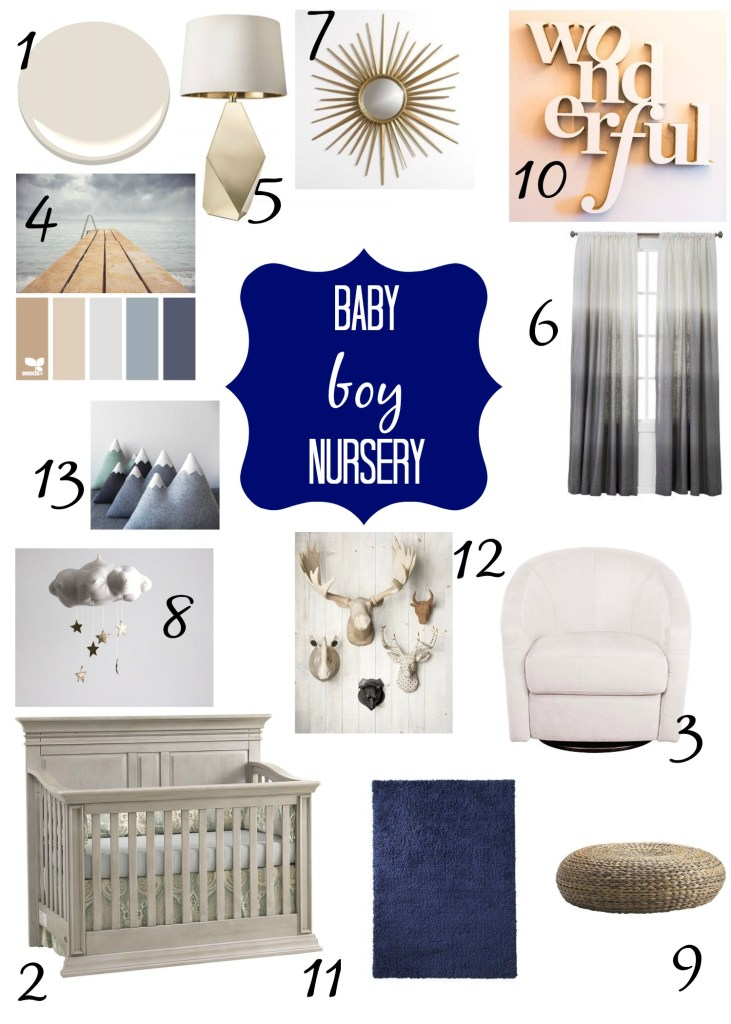 blue gray and gold boys nursery