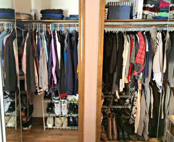 Organized closets! His and hers
