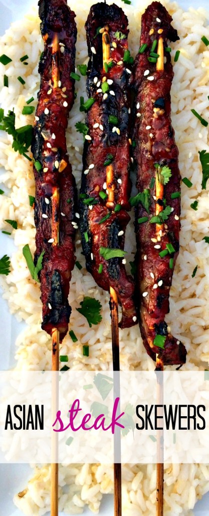 Ginger soy flank steak on a stick. Fast,easy and healthy recipe