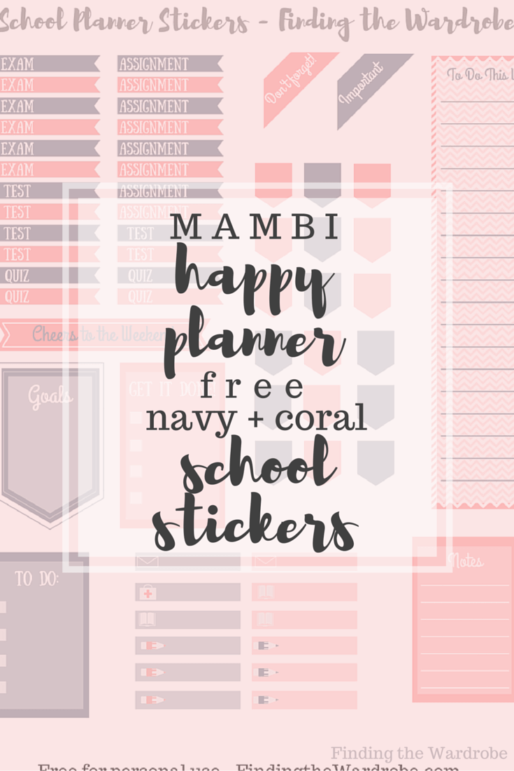 Happy Planner Navy + Coral School Stickers Post Graphic Free Printable Download