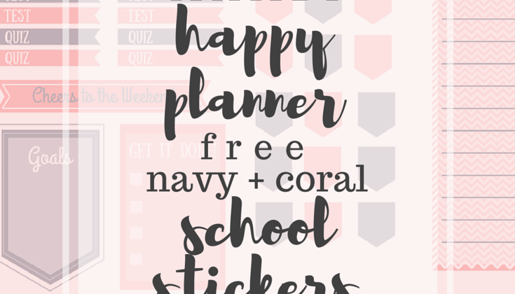 Happy Planner Navy + Coral School Stickers