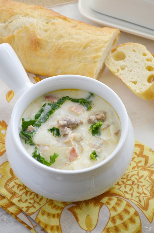 Get this easy Copycat Zuppa Toscana Soup recipe from Olive Garden™ so you can enjoy the wonderful flavors of this sausage and potato soup at home! You won't believe how simple it is to make a zuppa toscana copycat yourself. This soup makes a great weeknight dinner your whole family will love!