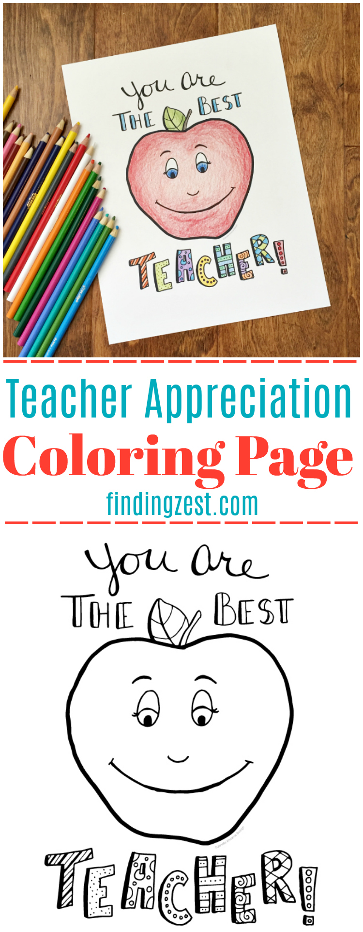 Teacher Appreciation Coloring Page Free Printable Finding Zest