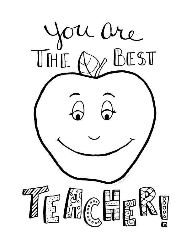 Teacher Appreciation Coloring Page Free Printable