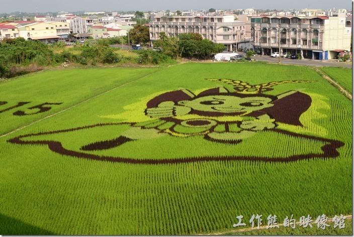 《臺南旅遊》[新營後壁]不敢相信!這可愛的Q版三太子居然是稻子種出來的彩繪稻田 | 工作熊的玩樂生活誌