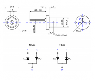 Laser Diode FJLD-120S-660-TO56-60TX