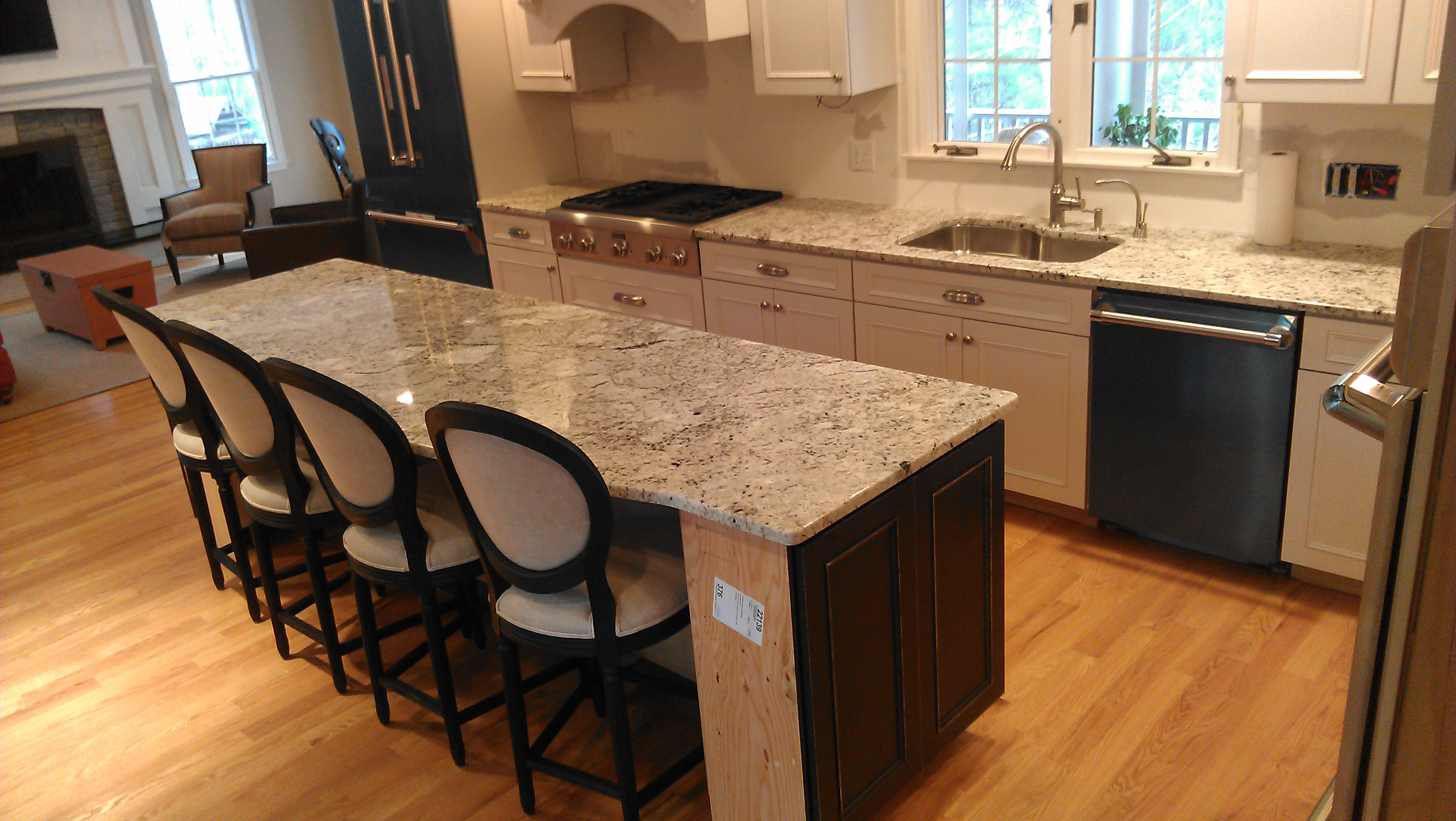 kitchen island with granite countertop