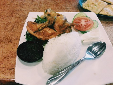 fried chicken with kangkong