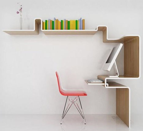 space saving home office idea Space-Saving Furniture: Home Office Desk & Storage Idea