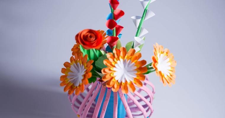paper flower vase making