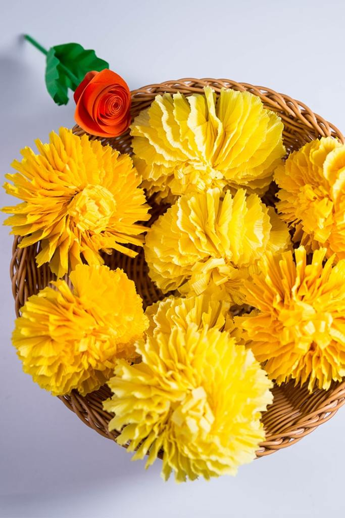crepe paper Marigold flower