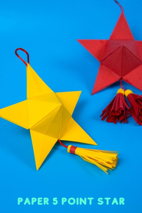 how to make beautiful paper star to decorate. Easy to do . How To Make 5 Pointed 3D